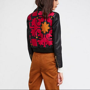 11e5a3d67 FREE PEOPLE Embroidered Vegan Bomber Jacket NWT